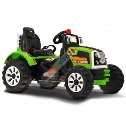 Veľký elektrický traktor 100 cm, 2x motor, Zeleny