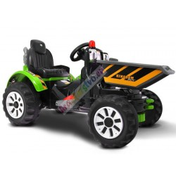 Veľký elektrický traktor s vyklápacou vlečkou, 2x motor,Zeleny