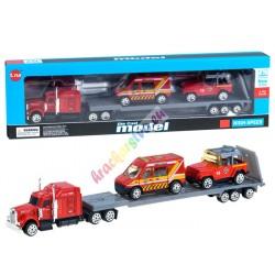 Hasičské autá set + nákladiak, kovové 1:64