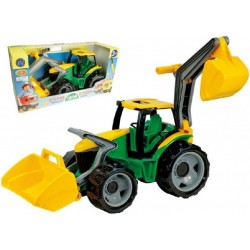 Traktor s lyžicou a bagrom zeleno-žltý, 65 cm