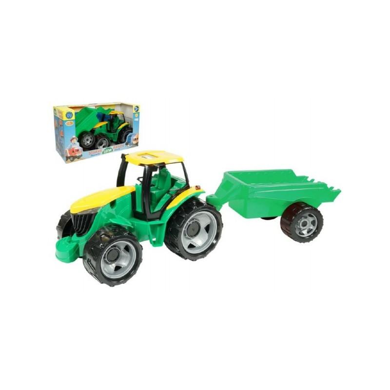 Traktor s vlečkou zeleno-žltý