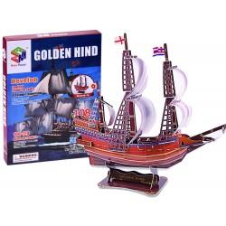 3D Puzzle loď Golden Hind, 108 dielov