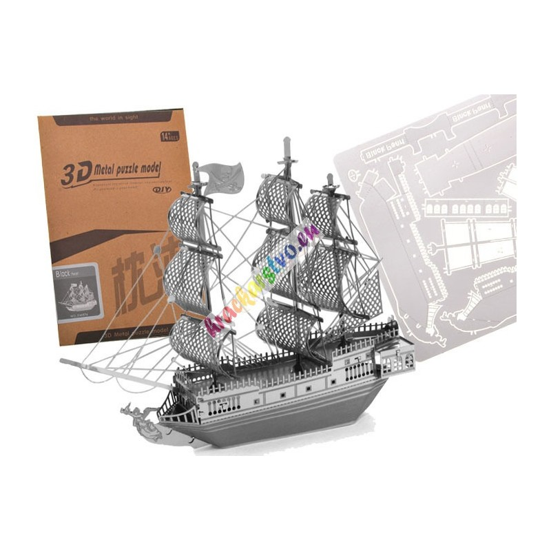 Kovové 3D Puzzle Pirátska loď Čierna Perla