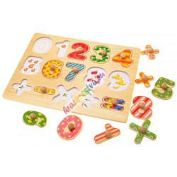 Drevené puzzle Čísla + znaky
