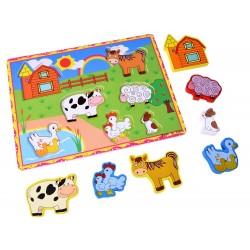 Drevené puzzle, vkladačka Zvieratká