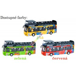 Kovový poschodový autobus s otváracími dverami a svetlom, 3 farby