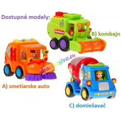 Interaktívne autíčka: kombajn, domiešavač, smetiar