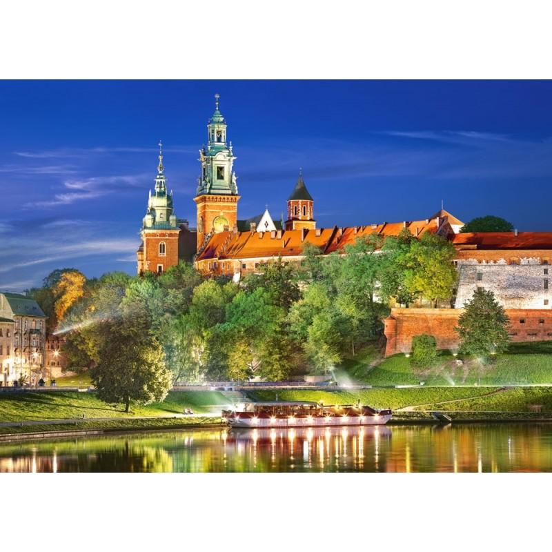 Castorland Puzzle Nočný hrad Wawel, Krakow, Poľsko, 1000 dielov