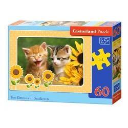 Castorland Puzzle  Dve mačiatka so slnečnicou, 60 dielikov