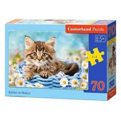 Castorland Puzzle Mačiatko v košíku, 70 dielikov