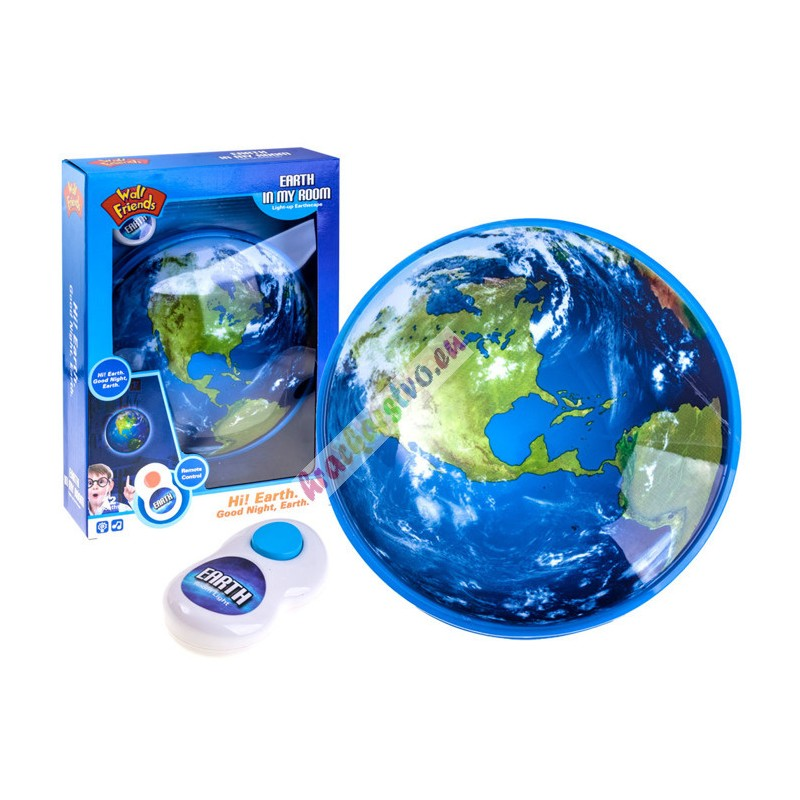 Detská nočná lampa Zem s diaľkovým ovládaním a jemnými zvukmi, 12m+