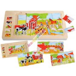 Edukatívne drevené puzzle FARMA, 4v1