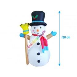 Nafukovací svietiaci snehuliak s metlou,120cm