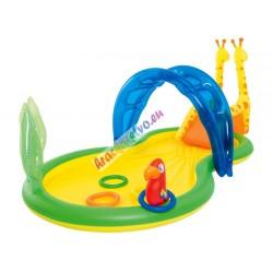 Bestway 53060, veľký detský interaktívny bazén - vodné ihrisko ZOO so šmýkačkou a fontánou