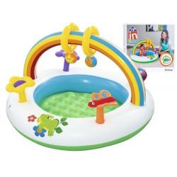 Detské vodné ihrisko – bazén DÚHA, s nafukovacím dnom a hračkami, 4m+