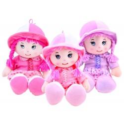 Handrová bábika v klobúku, 28 cm