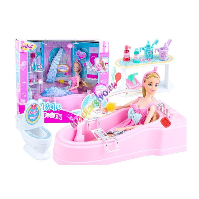 Bábika s kúpelňou a toaletou, funkčná sprcha