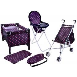 Postieľka, stolička a kočík – set 4v1
