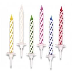 Tortové sviečky farebné 24ks + stojanček