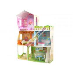 VILA obrovský drevený domček pre bábiky Barbie s nábytkom, 114cm