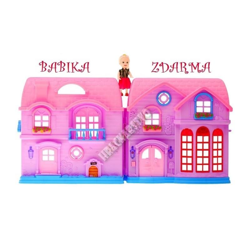 Ružový poschodový domček pre bábiky + bábika zdarma