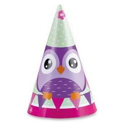 Narodeninové klobúčiky Happy Owl, 8ks