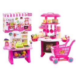 Detská kuchynka + obchod s nákupným vozíkom
