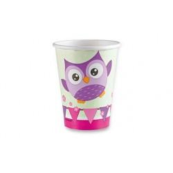 Papierové poháre Happy Owl, 0,25l, 8ks
