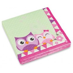 Papierové servítky na párty Happy Owl, 20ks