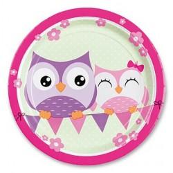 Papierové tanieriky Happy Owl, priemer 23cm, 8ks