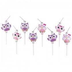 Plastové slamky Happy Owl, 8ks