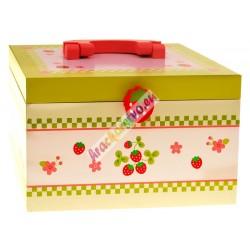 Drevený dezertný kufrík + sladkosti + bezpečný nôž