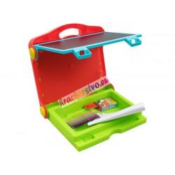 Skladacia magnetická-kriedová tabuľa 2v1 v kufríku, s bohatým príslušenstvom