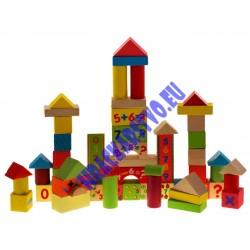 Maľované Drevené kocky 58ks sada pre deti