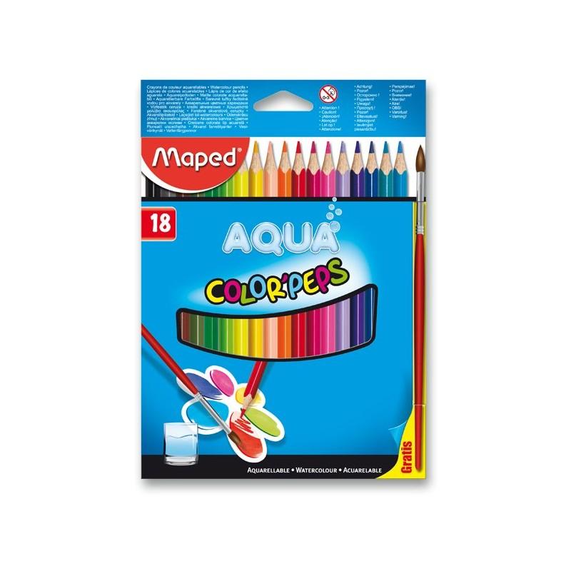 Pastelky MAPED AQUA 18 farieb + štetec