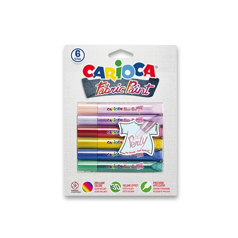 Farby na textil CARIOCA Perly, 6 farieb
