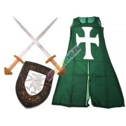 Rytiersky plášť, štít + 2 meče