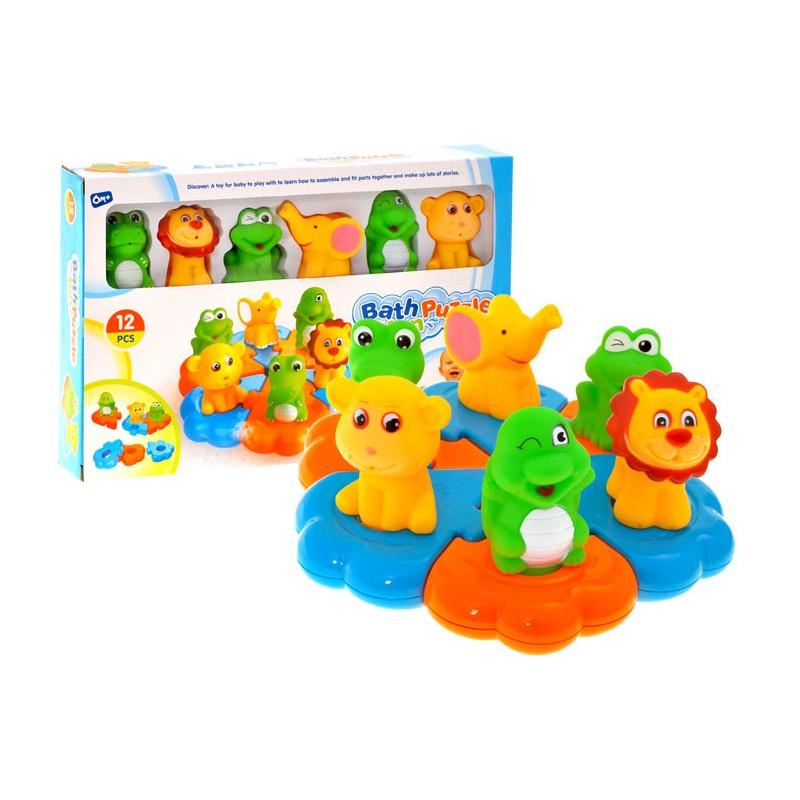 Plávajúce puzzle s gumenými zvieratkami 6v1, 6m+