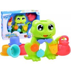 Vodná hračka: Žabka s kolovrátkami a pohárikmi, 12m+