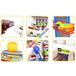 Detský obchod s regálmi, vozíkom, čítačkou, pokladňou a váhou