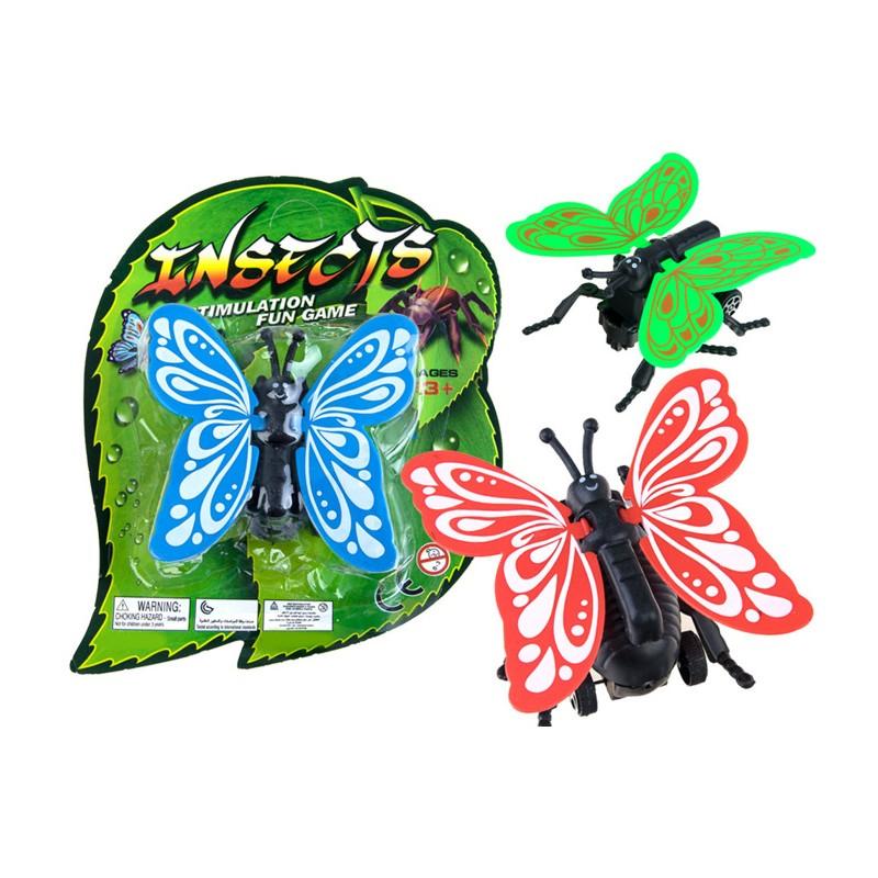 Naťahovací motýľ na kolieskach, 3 farby
