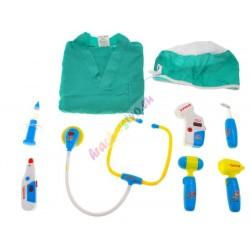 Sada pre lekára s chirurgickým plášťom a čiapkou, 2 farby
