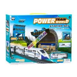 Moderný elektrický osobný vláčik s mostom a stanicou
