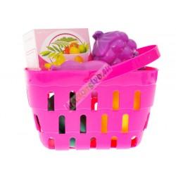 Ružová pokladňa s váhou, skenerom, košíkom a tovarom