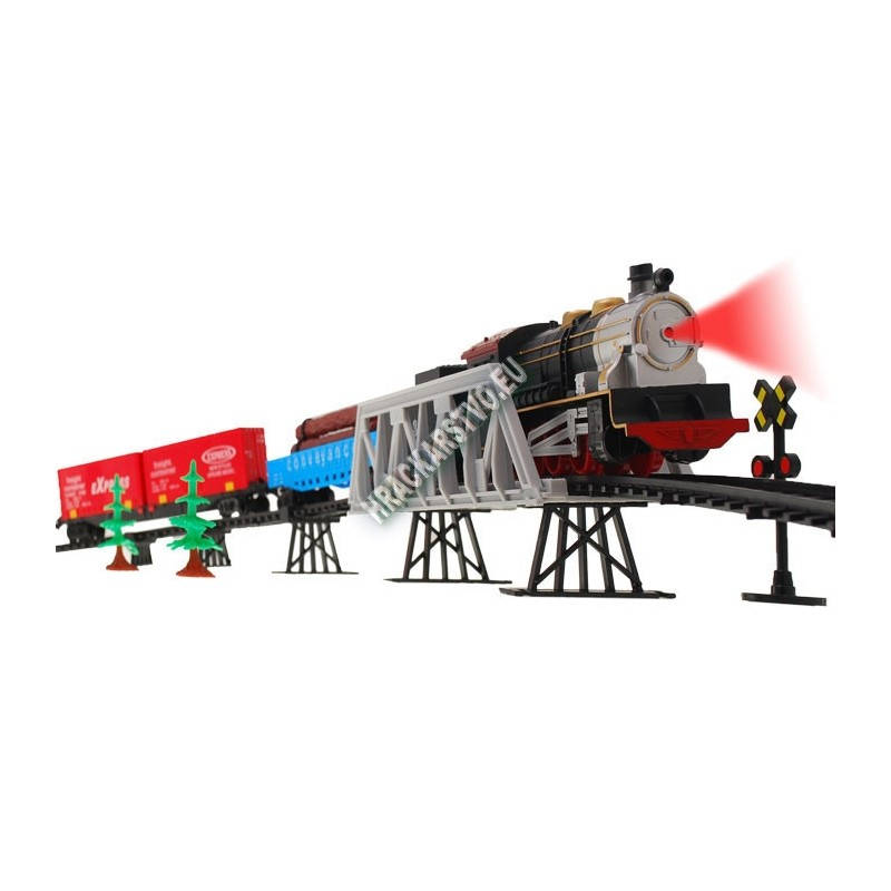 Elektrický vláčik s vagónmi na moste