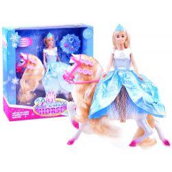 ANLILY Bábika Princezná Barbie s bielym koňom, modrá