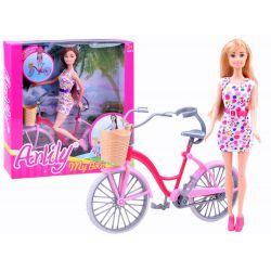 ANLILY Bábika Barbie + Retro bicykel, ružový
