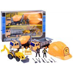 Zostava stavebných vozidiel + prilba pre dieťa