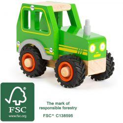 Drevený traktor zelený 13cm
