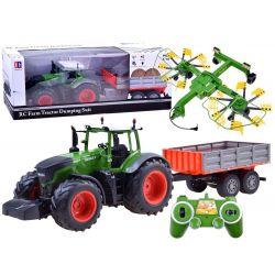 Traktor na diaľkové ovládanie  + vlečka a obracačka na diaľkové